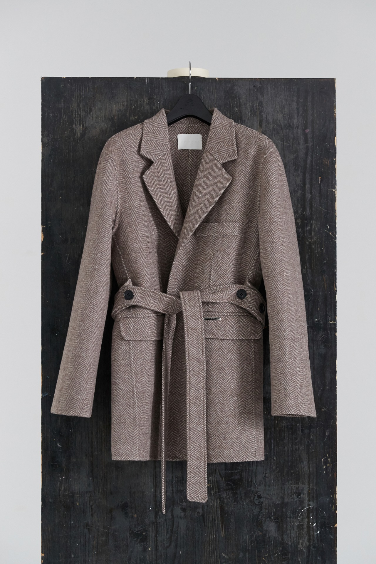 Handmade Coat Herringbone Wool (Brown)