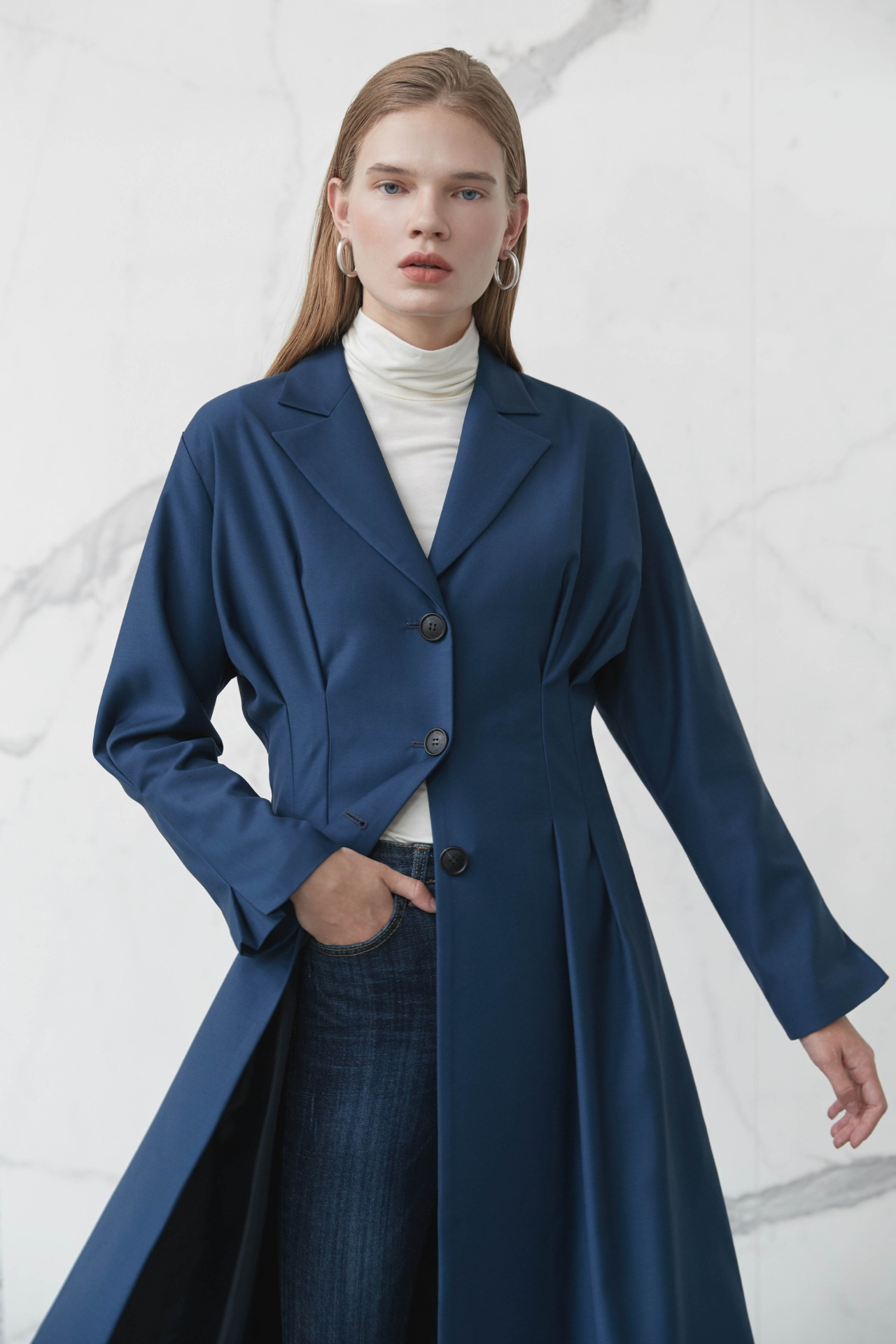 Trench Pintuck Dress (Blue)