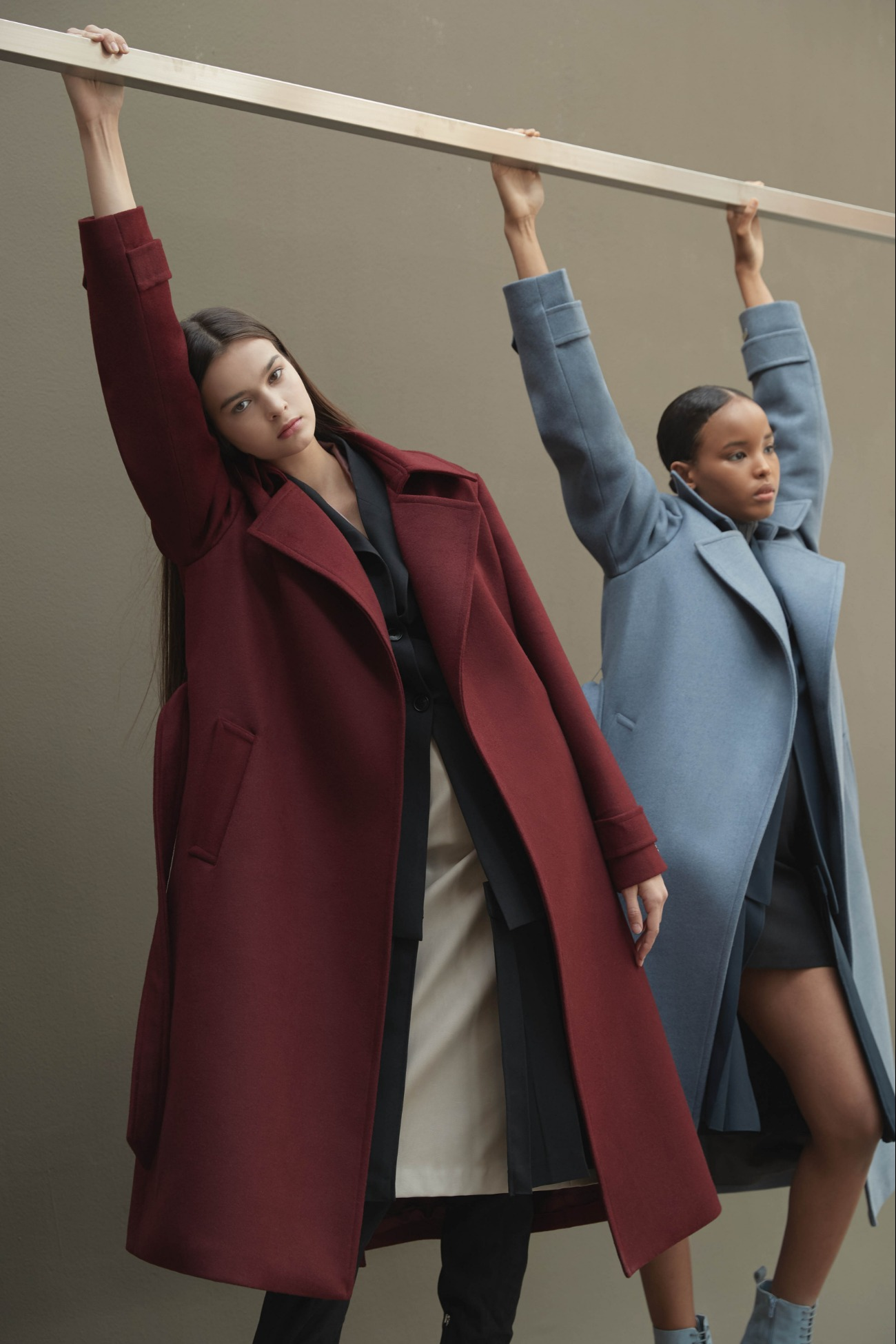 Coat Basic Straight Robe (Burgundy)
