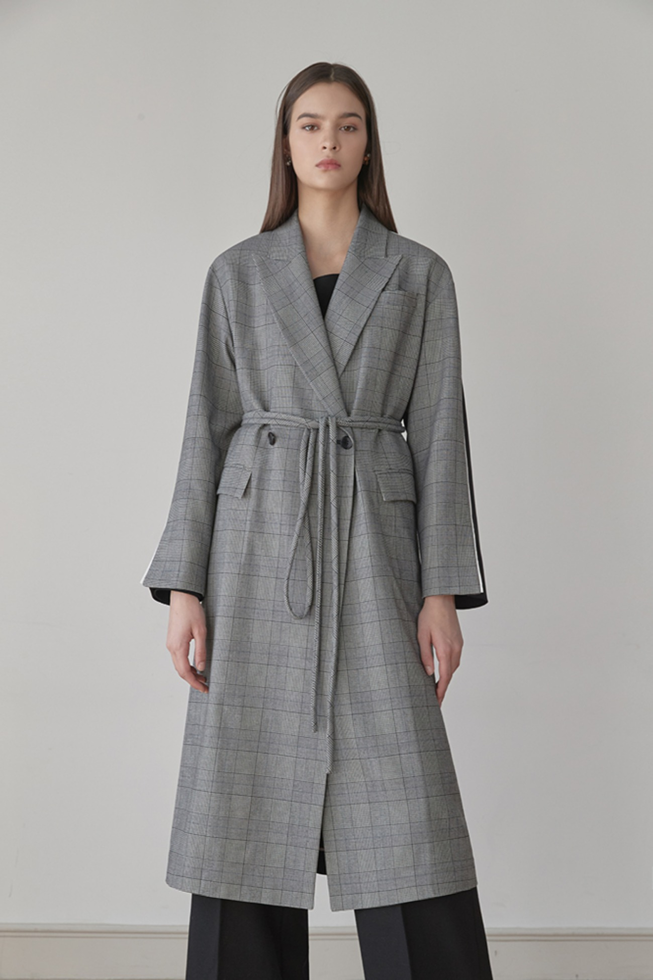 Jacket Long Cappotto – With Check (Gray/Black)