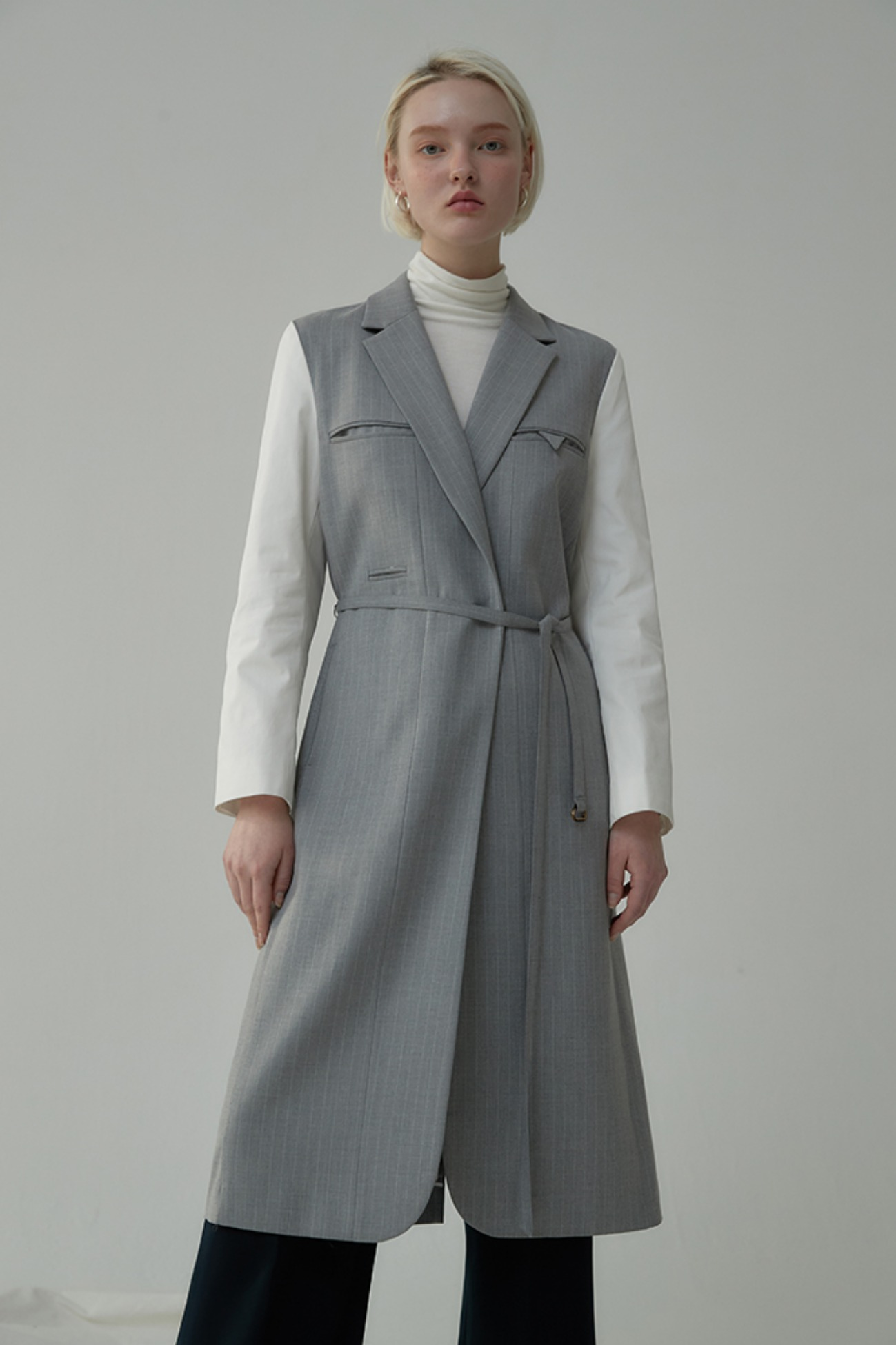 Jacket Robe Cappotto – Layerd With Stripes (Gray)