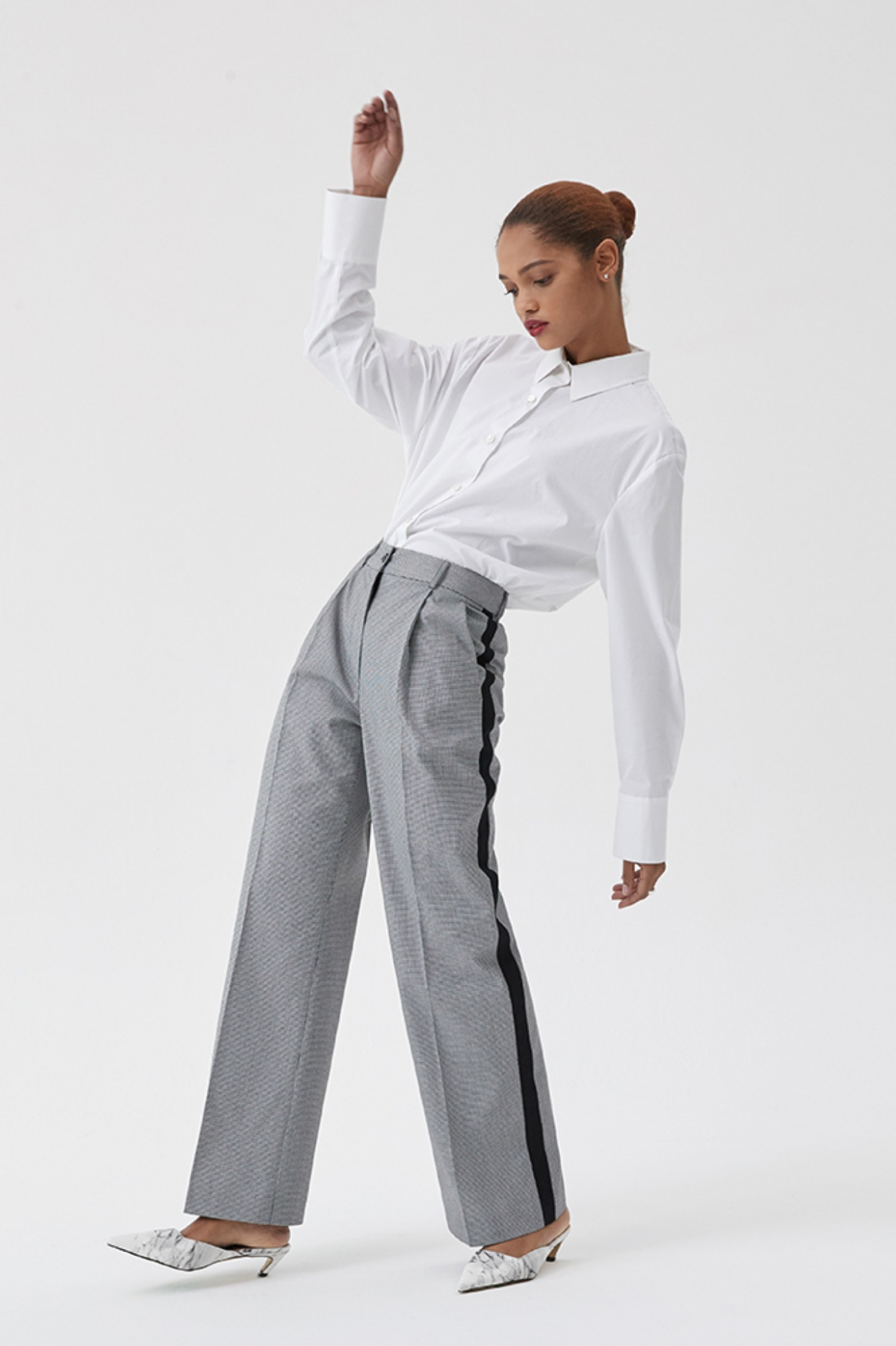Trouser Pants Track Micro Houndtooth Check