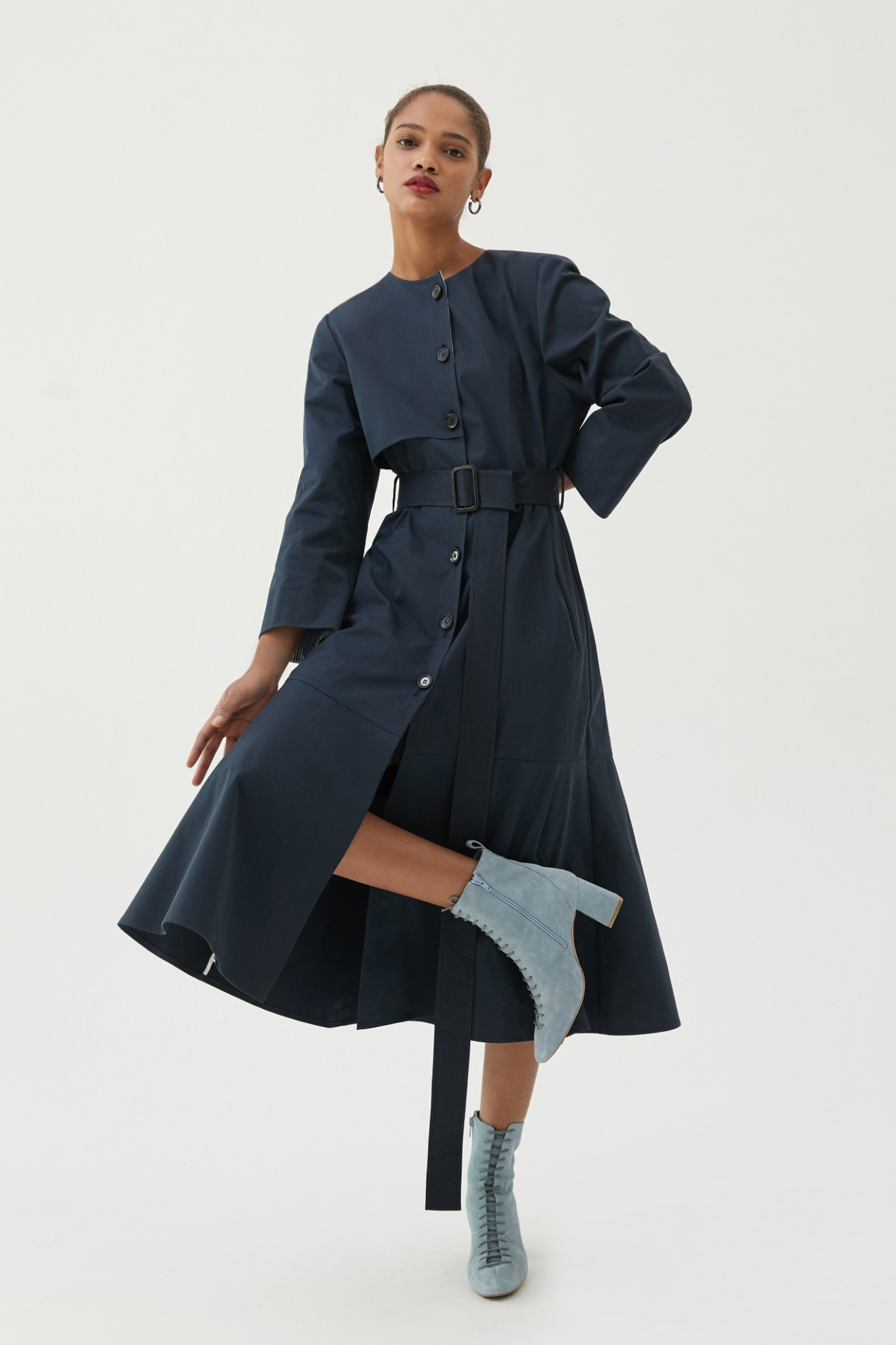 Dress Belted Trench (Navy)