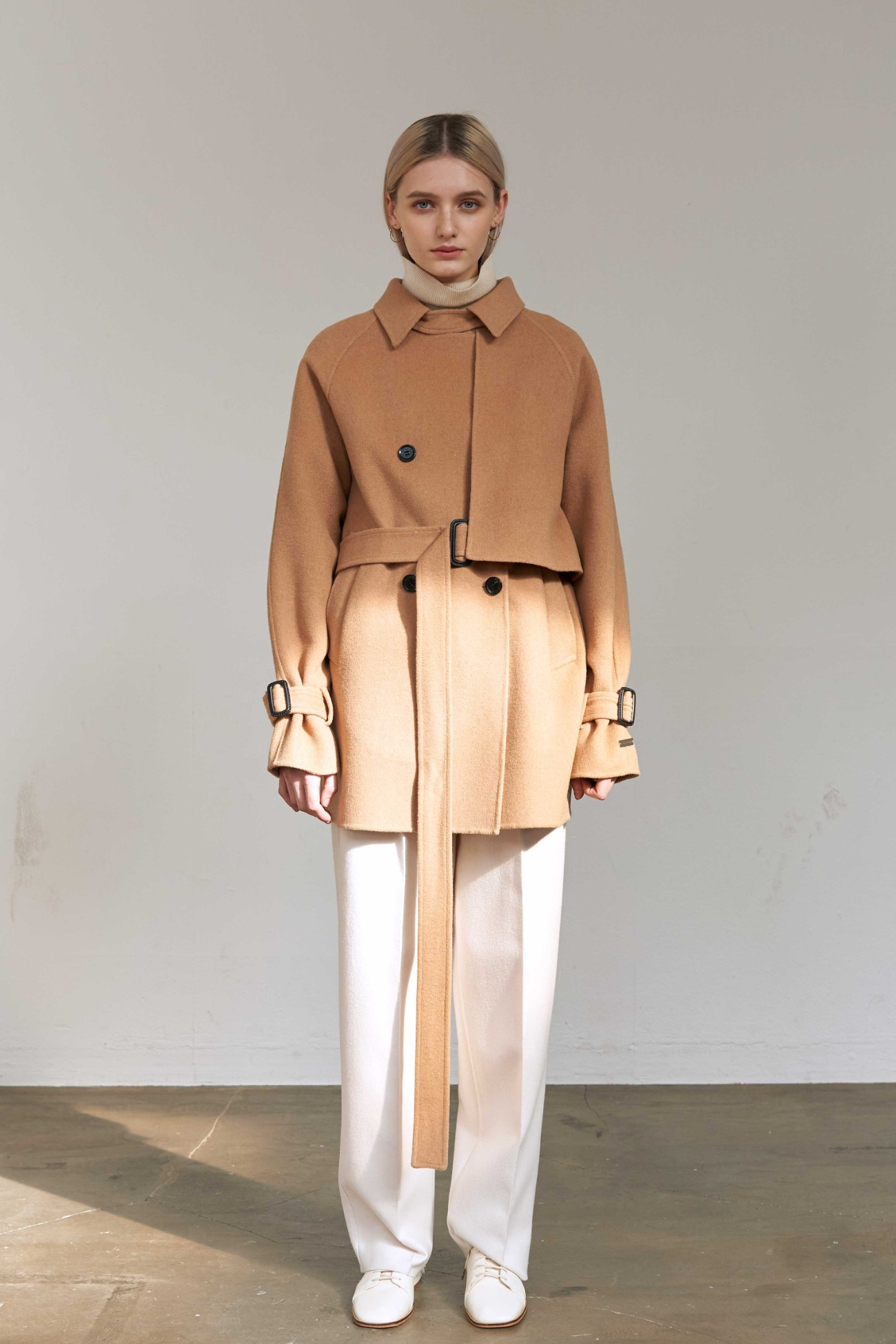 Handmade Coat Multi Panel Double (Camel)
