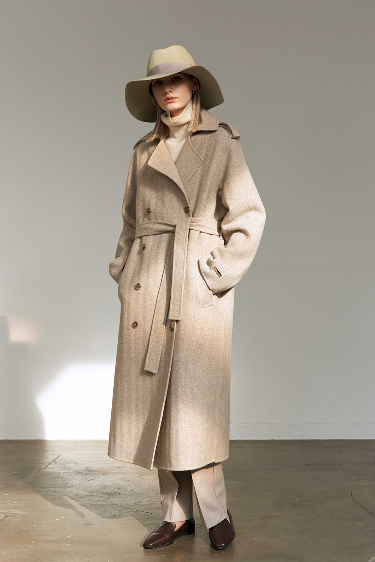 Handmade Coat Herringbone Trench double (Oatmeal)