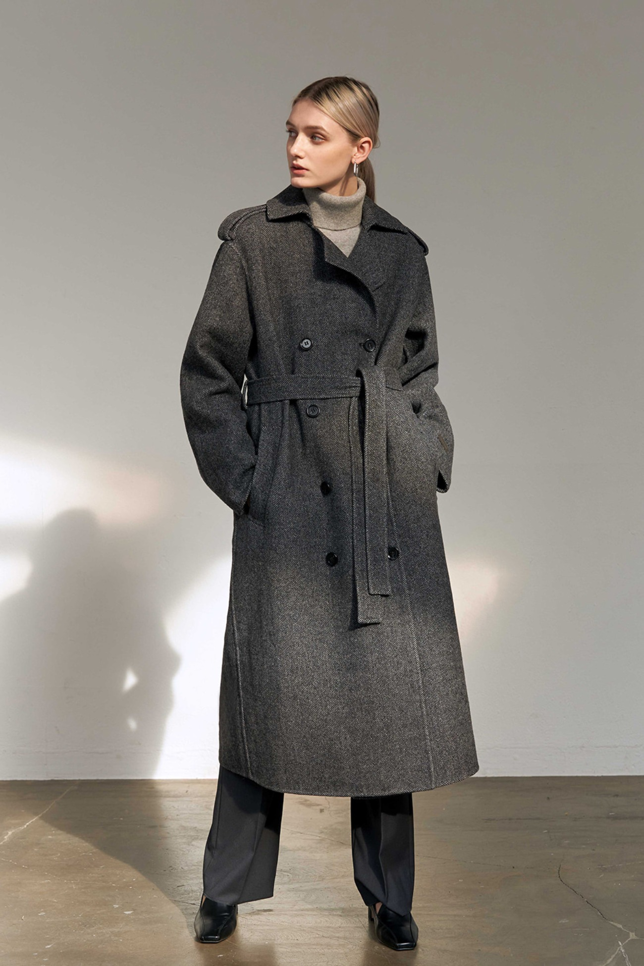 Handmade Coat Herringbone Trench Double