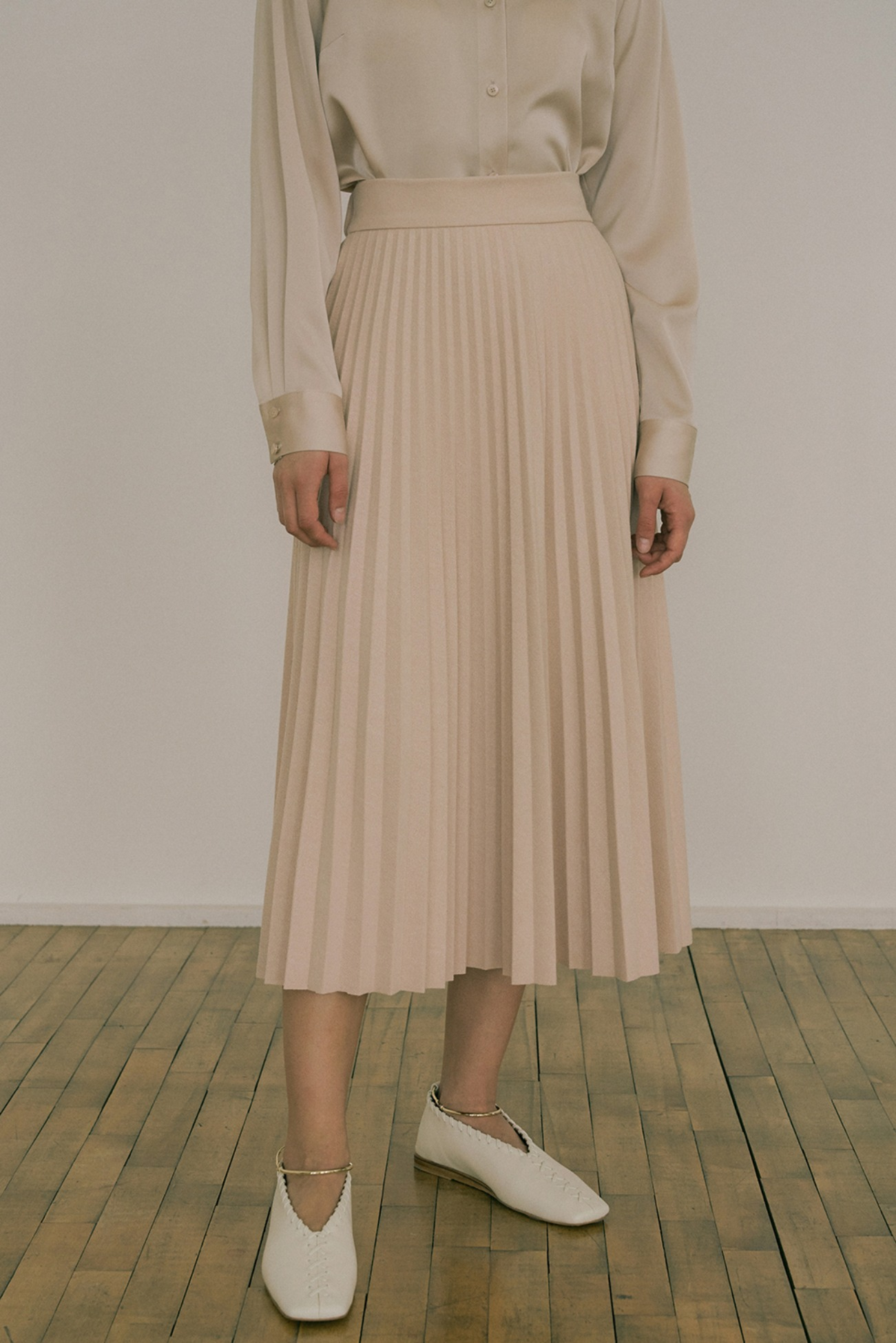 20 FW KNITTED PLEATS SKIRT