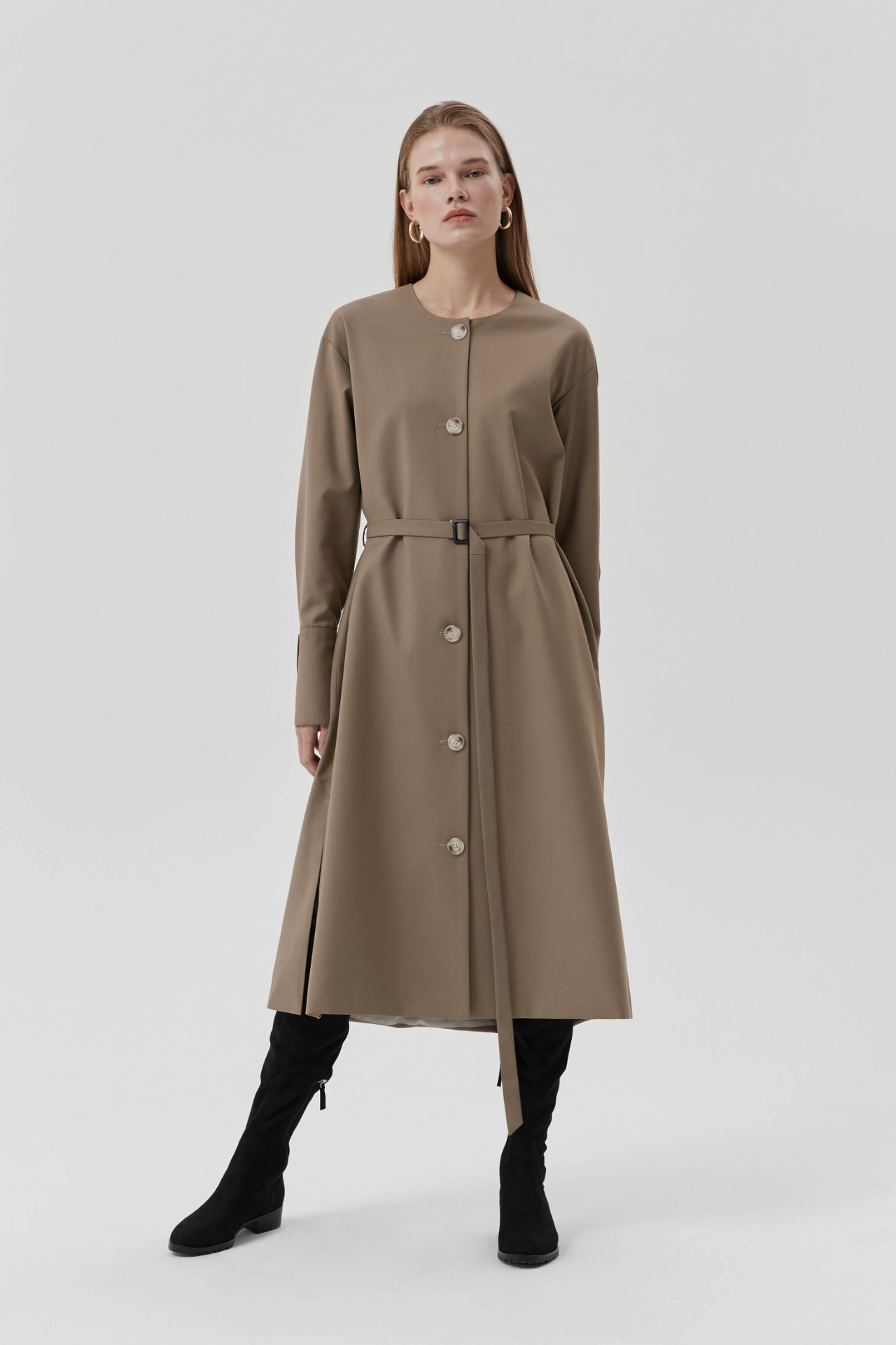 Trench Bicolor Dress (Beige)