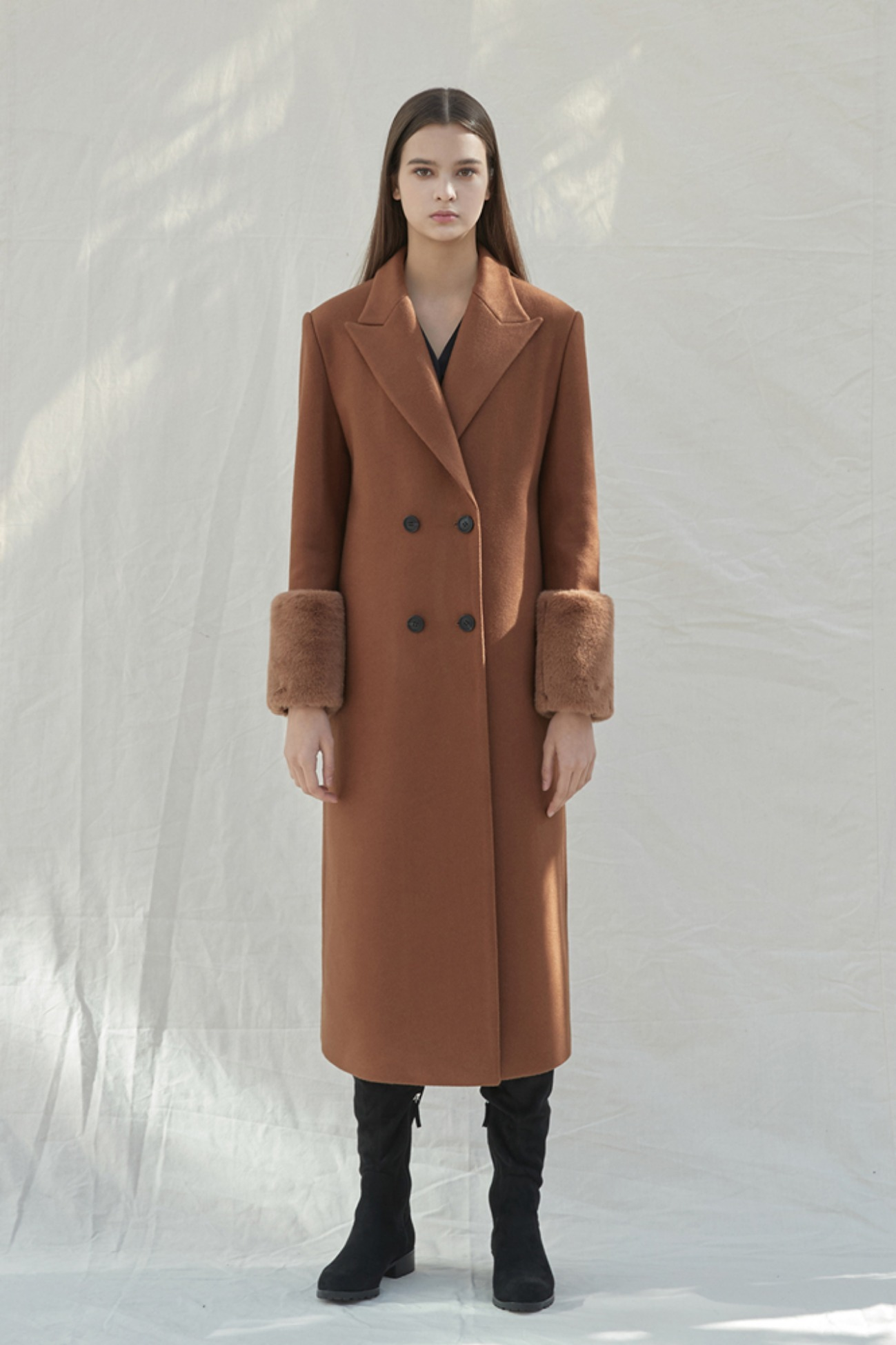 GreenHouse Coat Sleeve Fur Long Double (Brown)