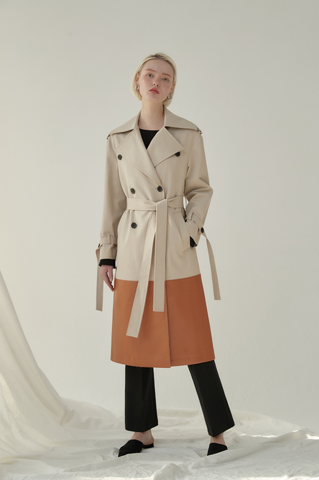 Trench Coat Cardiff Leather-Trimmed (Beige/Brown)