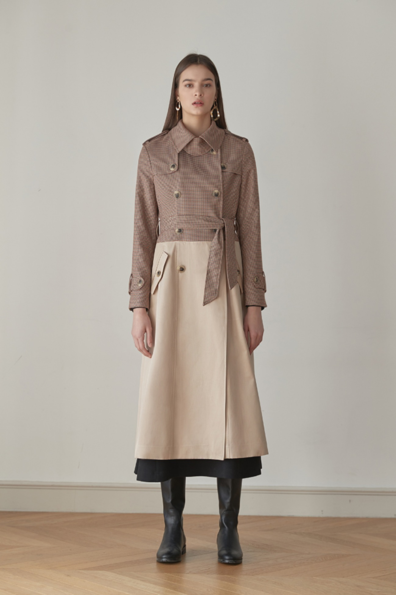 Trench Coat Check Mix Double-Breasted (Brown/Beige)