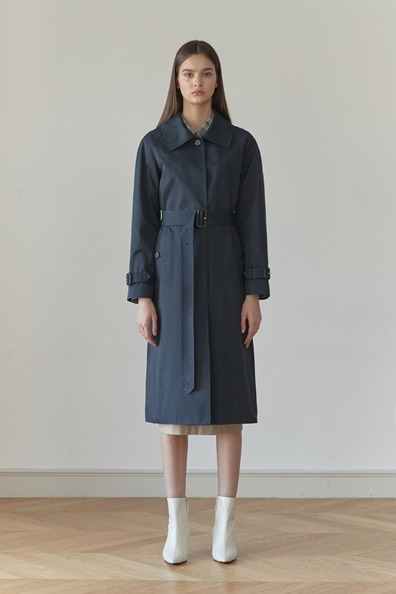 Trench Coat Altas Single Button (Navy)