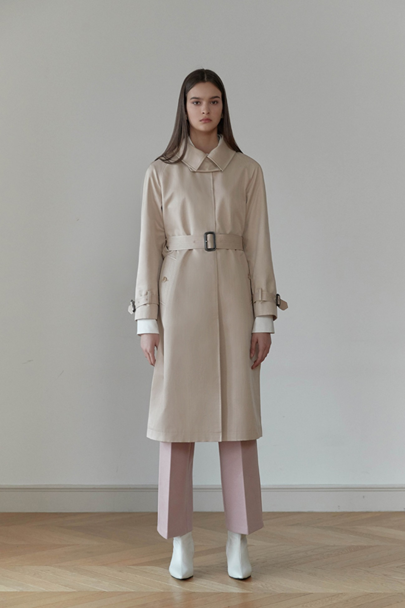 Trench Coat Altas Single Button (Beige)