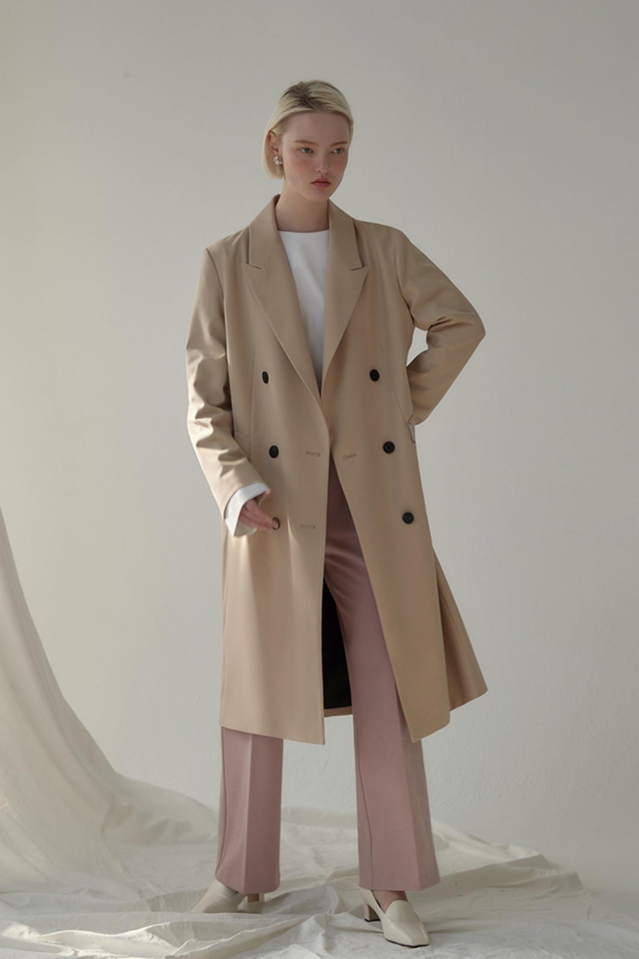 Long Jacket Hampson Double-Breasted (Beige)