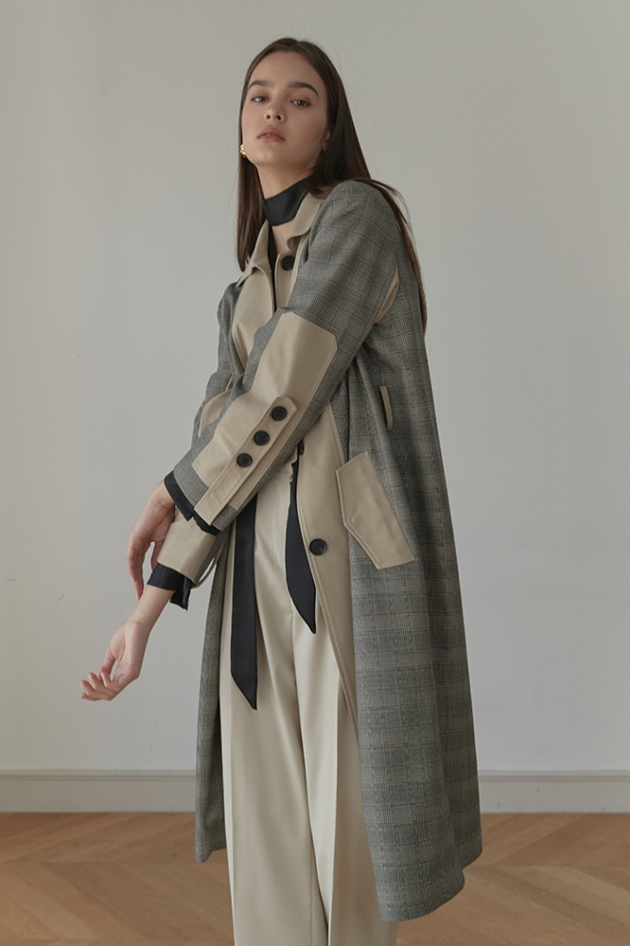 Trench Coat Vintage Ca Single (Gray/Beige)