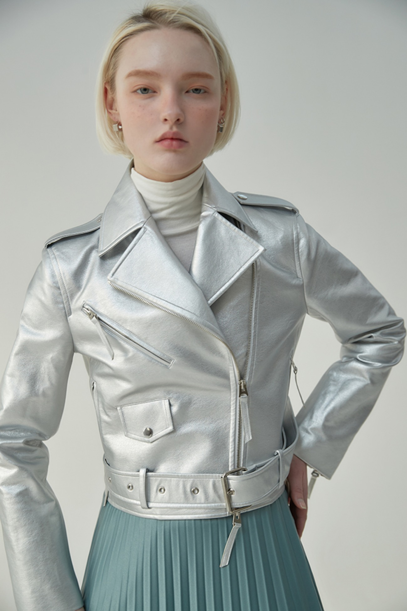 Leather Jacket Western-Style (Silver)