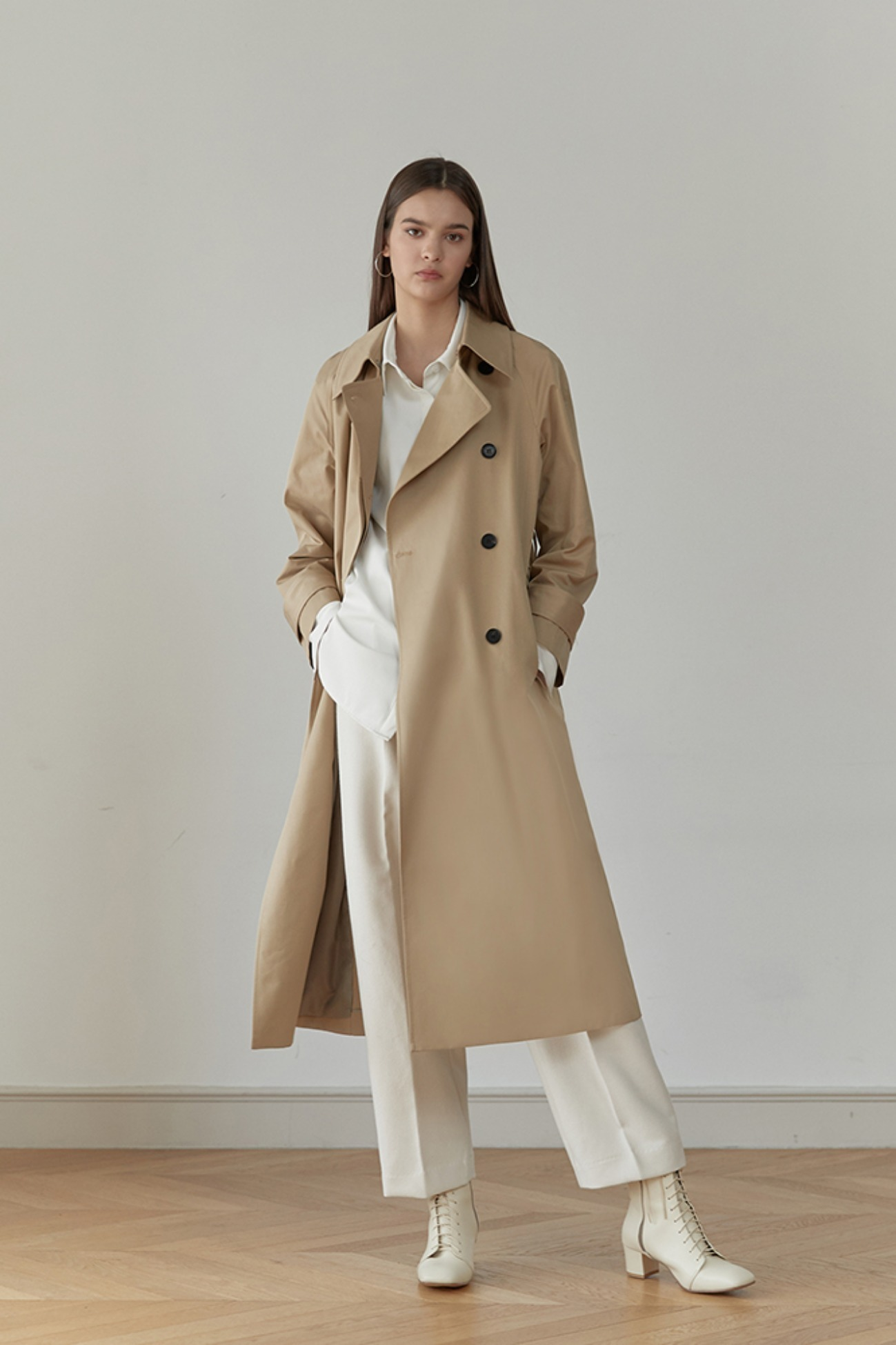 Trench Coat Indigo With Poket (Beige)