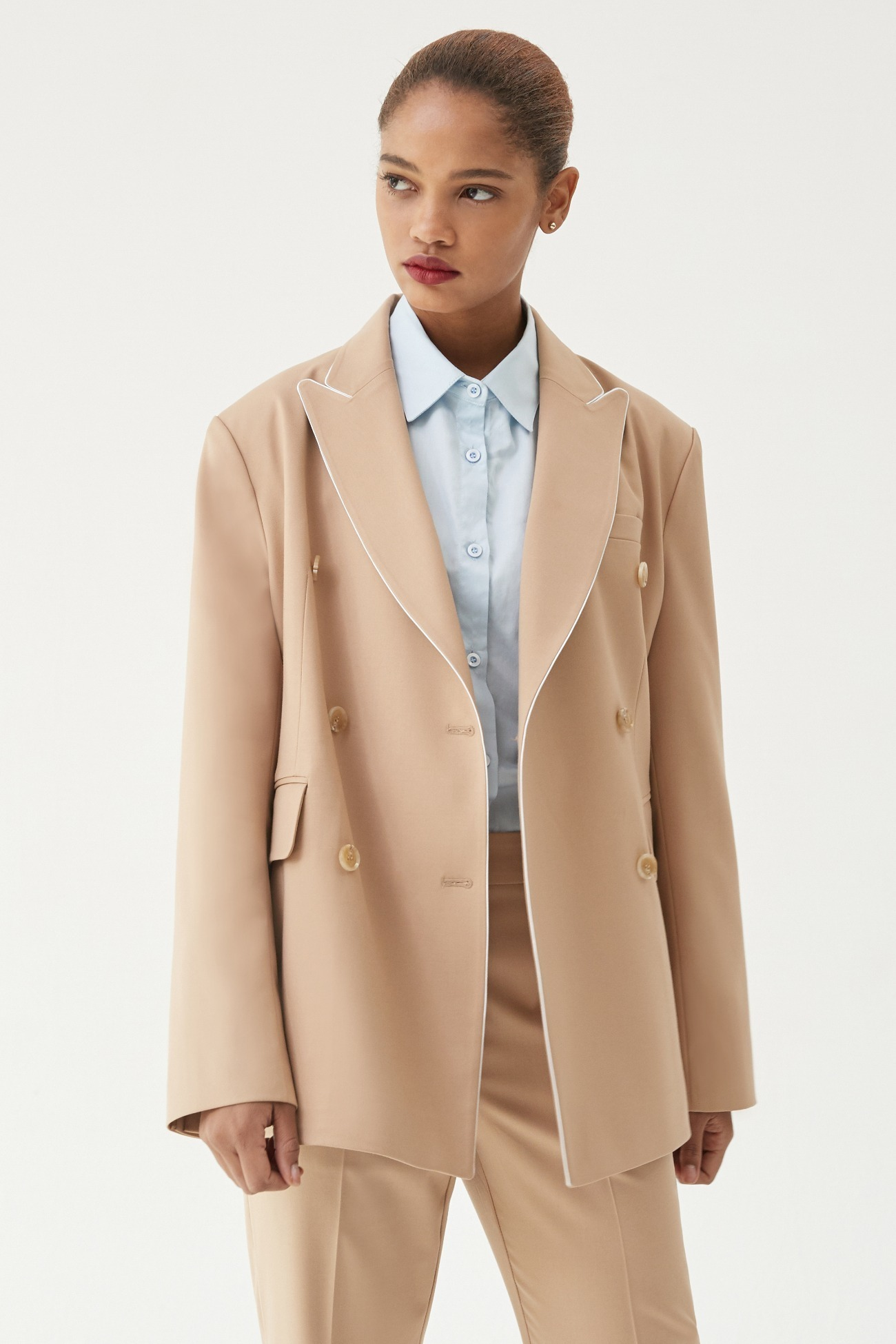 Jacket Double-Breasted Point (Beige)