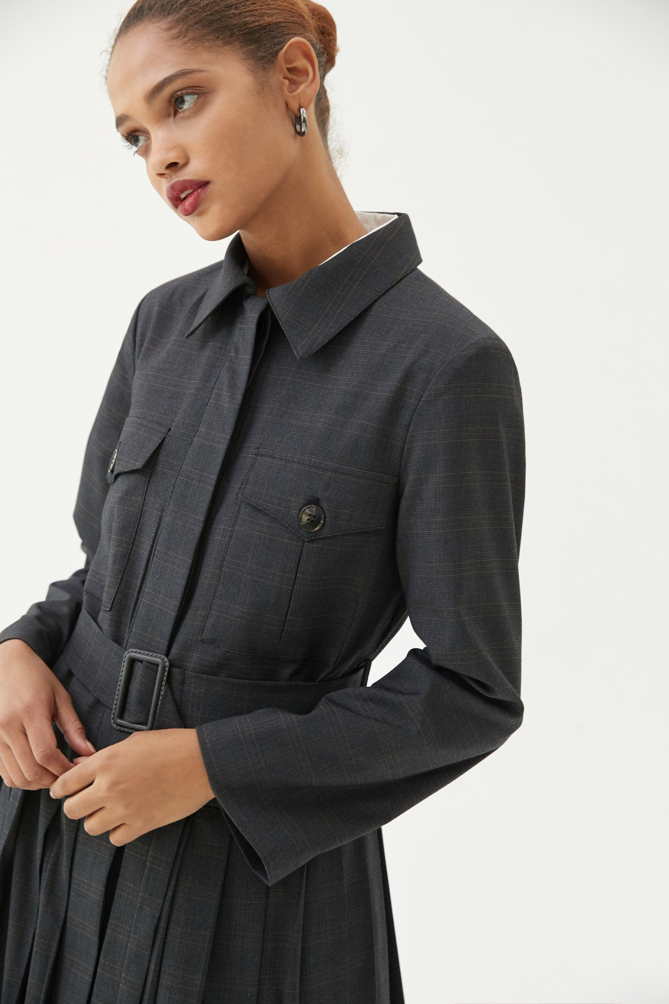 Jacket Dress Long Pleats (Charcoal)